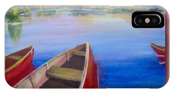 IPhone Case featuring the painting Red Boats At Sunrise by Saundra Johnson