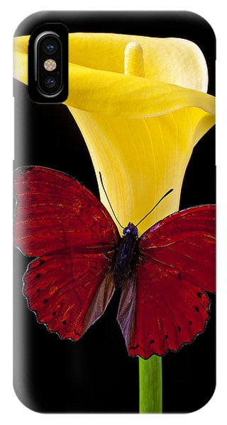 Horticulture iPhone Case - Red Butterfly And Calla Lily by Garry Gay