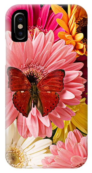 Beautiful iPhone Case - Red Butterfly On Bunch Of Flowers by Garry Gay