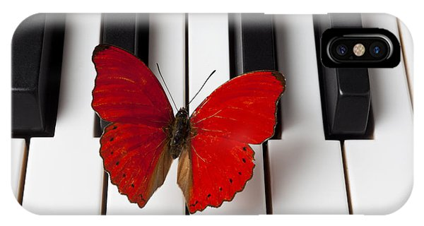 Insect iPhone Case - Red Butterfly On Piano Keys by Garry Gay