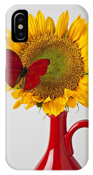 Pollination iPhone Case - Red Butterfly On Sunflower On Red Pitcher by Garry Gay
