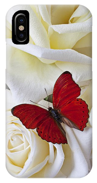 Bloom iPhone Case - Red Butterfly On White Roses by Garry Gay
