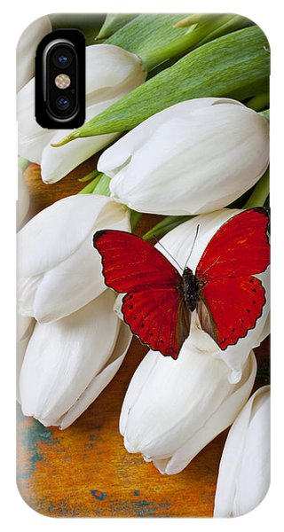White Tulip iPhone Case - Red Butterfly On White Tulips by Garry Gay