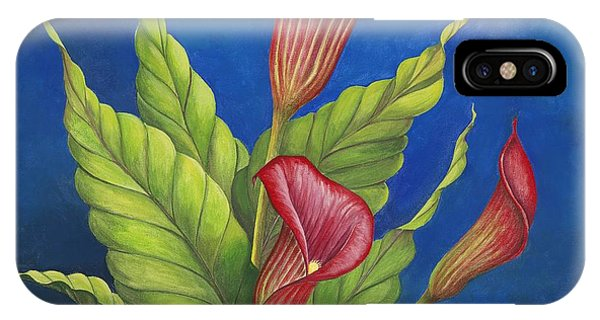 Red Calla Lillies Phone Case by Carol Sabo