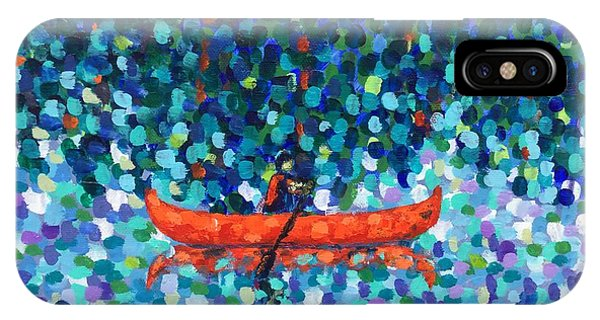 IPhone Case featuring the painting Red Canoe On The Lake by Cristina Stefan