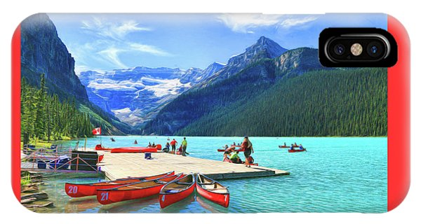 IPhone Case featuring the photograph Red Canoes  Of Lake Louise - Banff National Park Canada by Ola Allen