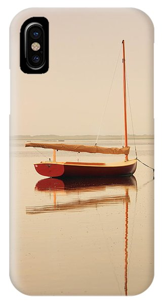 Red Catboat On Misty Harbor IPhone Case