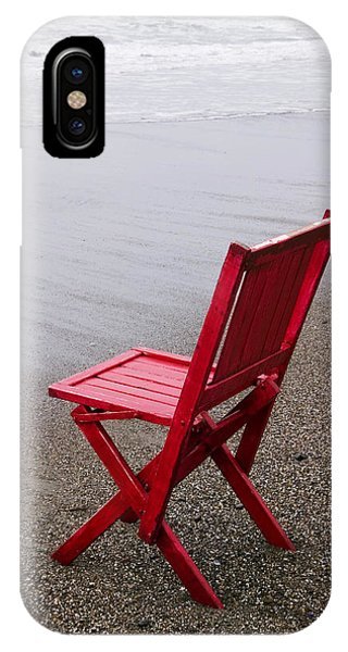 Chair iPhone Case - Red Chair On The Beach by Garry Gay