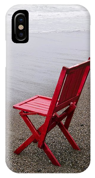 Beach Chair iPhone Case - Red Chair On The Beach by Garry Gay