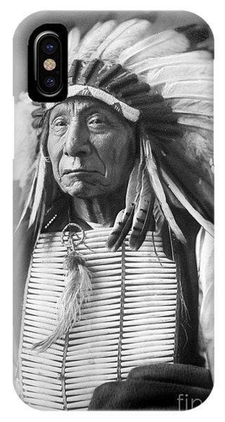 Proud iPhone Case - Red Cloud, Dakota Chief, Wearing A Headdress, 1880s by David Frances Barry