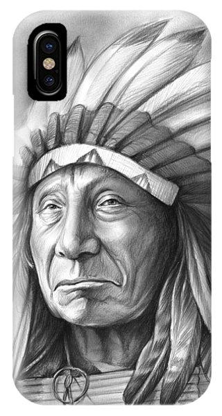 Leader iPhone Case - Red Cloud by Greg Joens