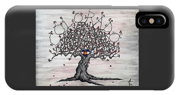 IPhone Case featuring the drawing Red Colorado Love Tree by Aaron Bombalicki
