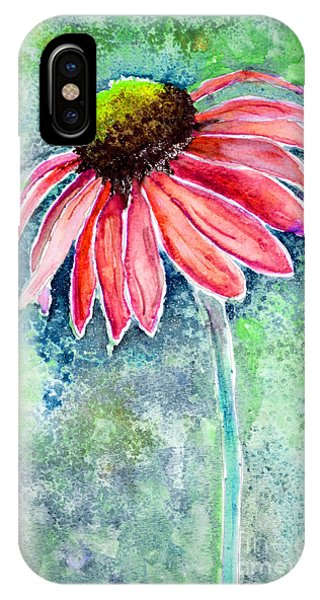 IPhone Case featuring the painting Red Cone Flower 9-1-15 by Mas Art Studio