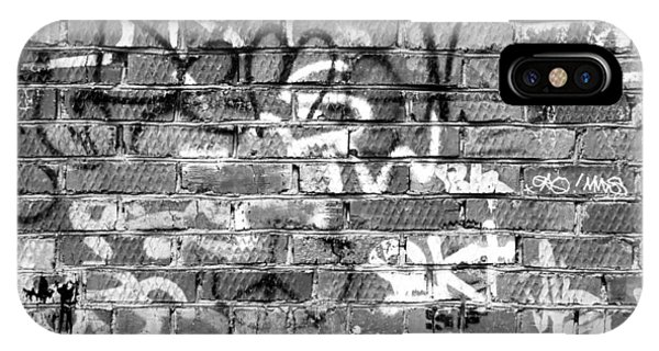 Red Construction Brick Wall And Spray Can Art Signatures IPhone Case