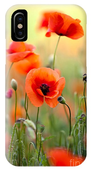 Red Sky iPhone X Case - Red Corn Poppy Flowers 06 by Nailia Schwarz