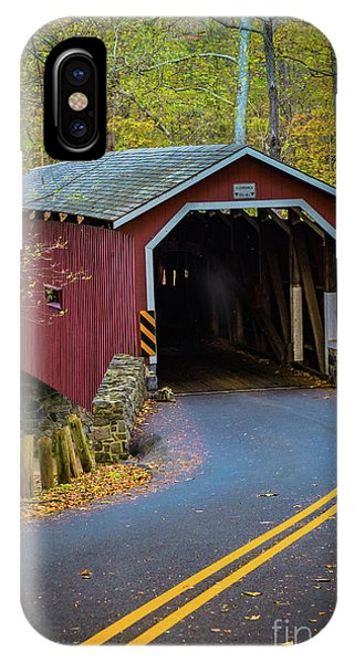 Red Covered Bridge In Lancaster County Park IPhone Case