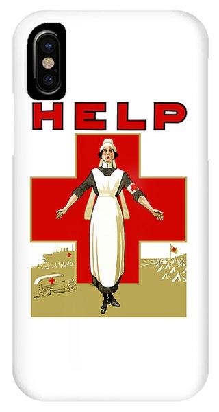 Cross iPhone X Case - Red Cross Nurse - Help by War Is Hell Store