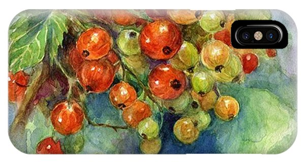 Red Currants Berries Watercolor IPhone Case