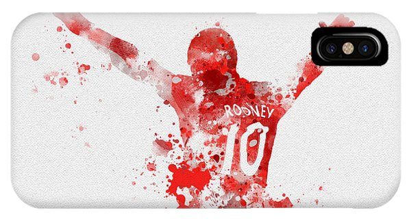 Wayne Rooney iPhone Case - Red Devil by Rebecca Jenkins