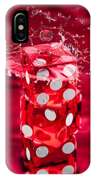 Spin iPhone Case - Red Dice Splash by Steve Gadomski