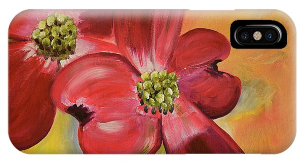 Red Dogwood - Canvas Wine Art IPhone Case