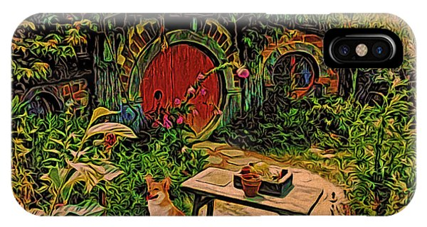 Red Door Hobbit House With Corgi IPhone Case