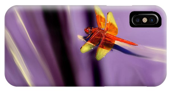 Red Dragonfly On Purple Background IPhone Case