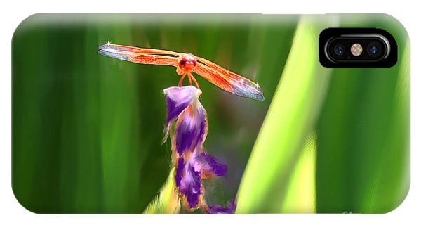 Red Dragonfly On Purple Flower IPhone Case