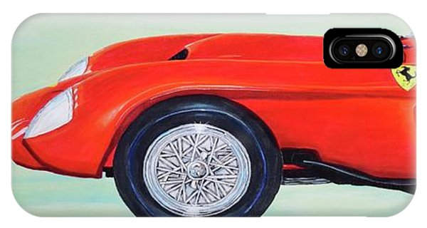 IPhone Case featuring the painting Red Ferrari by Mary Scott