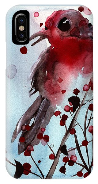 Red Finch In The Winterberry IPhone Case