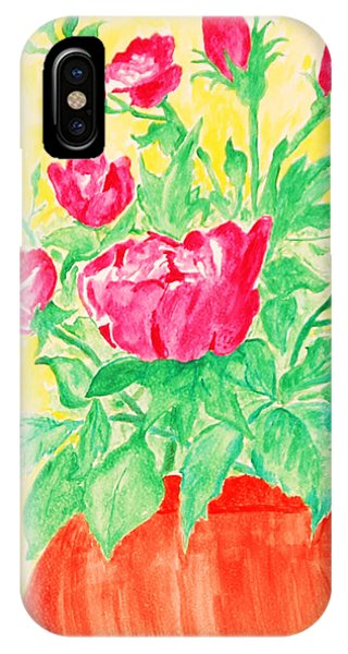 Red Flowers In A Brown Vase IPhone Case