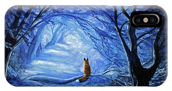 Half Moon iPhone Case - Red Fox In Blue Cypress Grove by Laura Iverson