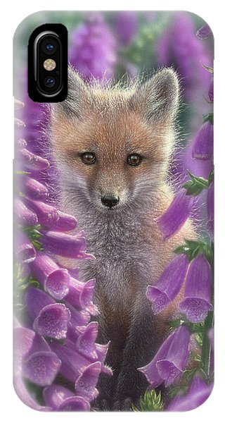 Red Fox Pup - Foxgloves IPhone Case