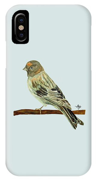 IPhone Case featuring the painting Red-fronted Serin by Angeles M Pomata