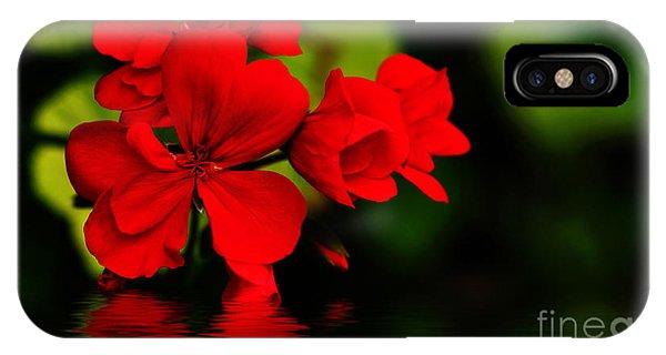 Red Geranium On Water IPhone Case