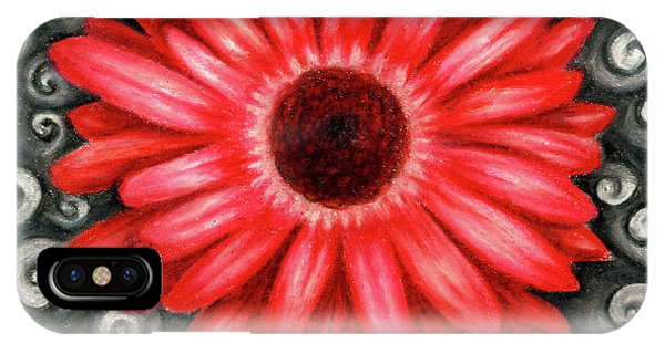 Red Gerbera Daisy Drawing IPhone Case