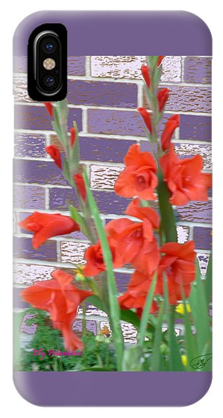 IPhone Case featuring the pyrography Red Gladiolas by Elly Potamianos
