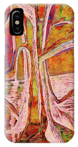 Red-gold Autumn Glow River Tree IPhone Case