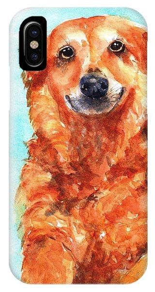 Watercolor Pet Portraits iPhone Case - Red Golden Retriever Smile by Carlin Blahnik CarlinArtWatercolor