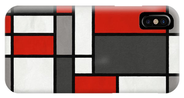 Red Grey Black Mondrian Inspired IPhone Case