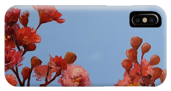 Red Gum Blossoms Australian Flowers Oil Painting IPhone Case
