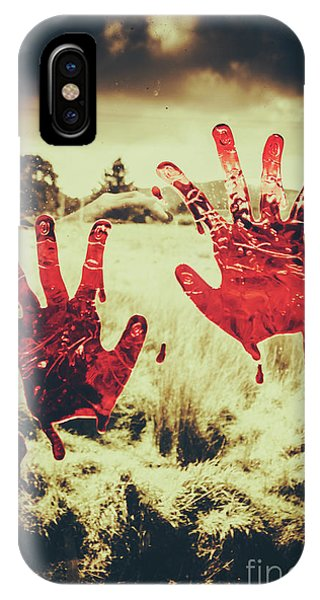 Gloomy iPhone Case - Red Handprints On Glass Of Windows by Jorgo Photography - Wall Art Gallery