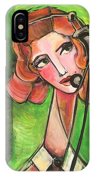 IPhone Case featuring the painting Red Headed Operator by Laurie Maves ART