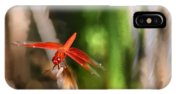 Red Heart Dragonfly IPhone Case