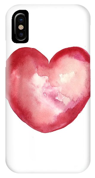 Watercolors iPhone X Case - Red Heart Valentine's Day Gift by Joanna Szmerdt