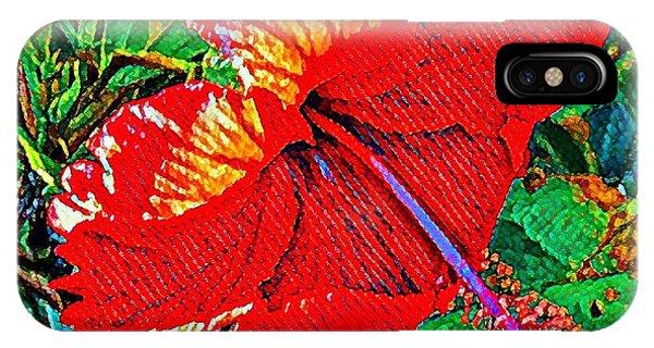 Red Hibiscus Aslant IPhone Case
