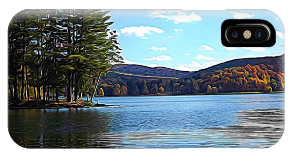 Red House Lake Allegany State Park In Autumn Expressionistic Effect IPhone Case