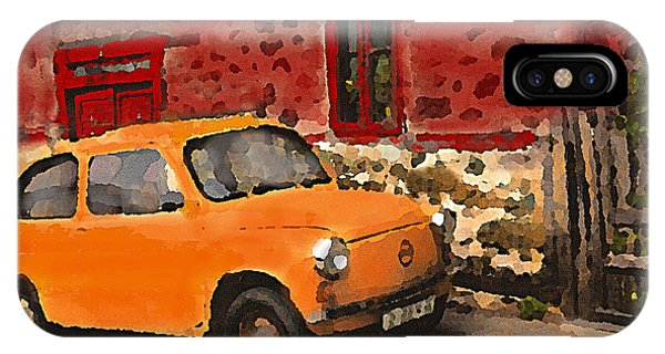 Red House With Orange Car IPhone Case