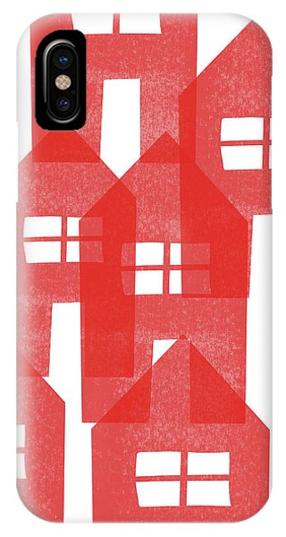 Red Houses- Art By Linda Woods IPhone Case