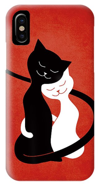 Red Hugging Love Cats IPhone Case